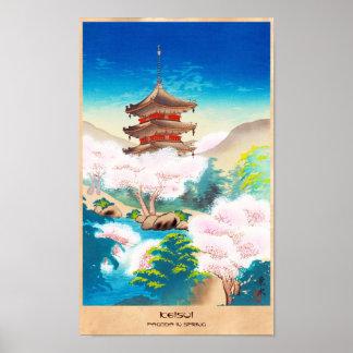 Keisui Pagoda i japanskt orientaliskt landskap för Poster