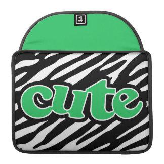 Kelly grön GULLIG zebra tryck Sleeve För MacBooks
