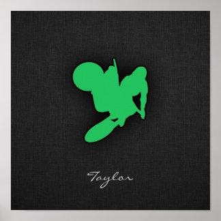 Kelly grön Motocross Poster