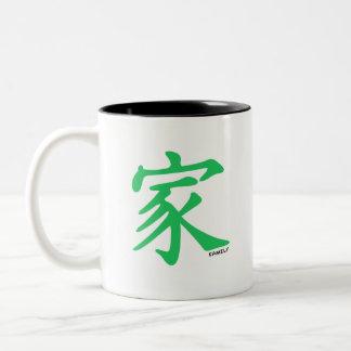 Kelly grönt kinesiskt tecken för familj Två-Tonad mugg
