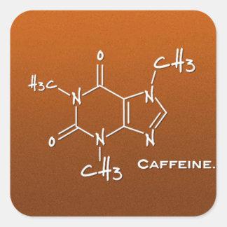 Kemisk Caffiene molekyl (strukturera), Fyrkantigt Klistermärke