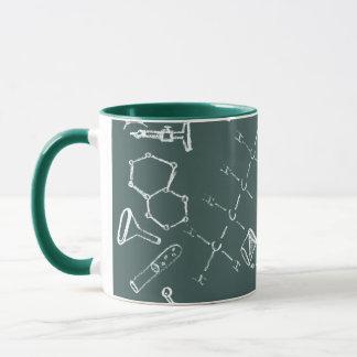 Kemisk labbutrustning klottrar mugg