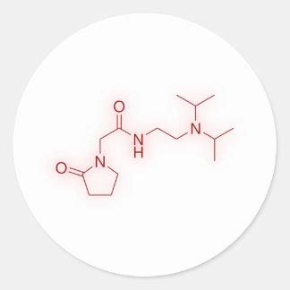 Kemiska Pramiracetam strukturerar Runt Klistermärke