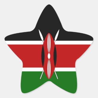 Kenya flagga stjärnformat klistermärke