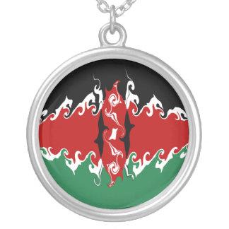 Kenya Gnarly flagga Halsband Med Rund Hängsmycke
