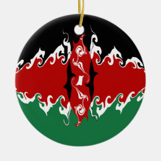 Kenya Gnarly flagga Rund Julgransprydnad I Keramik