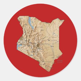 Kenya kartaklistermärke runt klistermärke