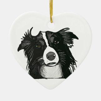 Keramisk hjärta för svartvit gränsCollie Julgransprydnad Keramik