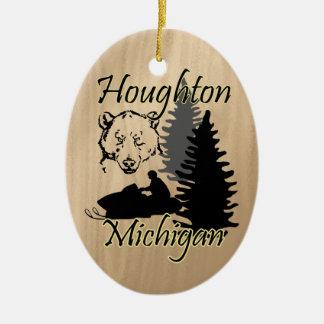 Keramisk Houghton Michigan Snowmobilebjörn Julgransprydnad Keramik