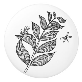 Keramisk knopp för lövSprig #1 Poslin Handtag