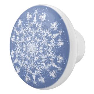 Keramisk knopp för stor abstrakt Lacy Snowflake