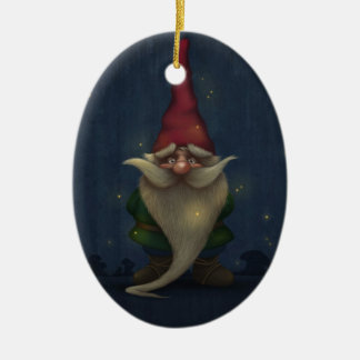 Keramisk oval prydnad för gammal julGnome Ovalformad Julgransprydnad I Keramik