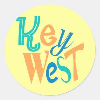 Key West rolig typografisk design Runt Klistermärke