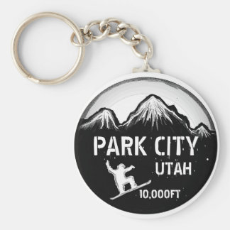 Keychain för konst för Park City Utah svart vitsno Rund Nyckelring