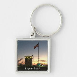 Keychain för Laguna strandsolnedgång Fyrkantig Silverfärgad Nyckelring