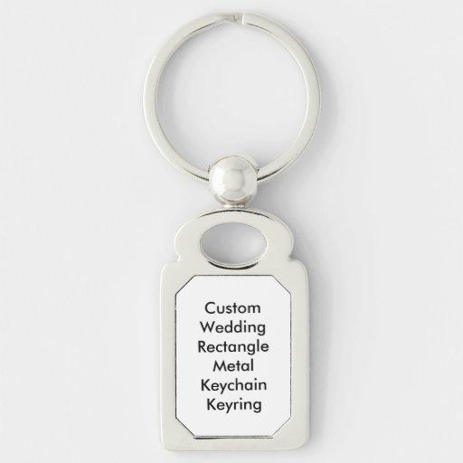 Keychain för personligt bröllprektangelmetall