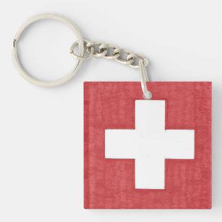 Keychain för schweizareflaggaakryl