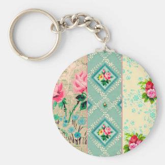 Keychain för vintagetapetcollage rund nyckelring