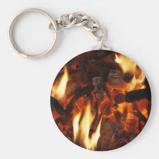 Keychain med bränning avfyrar rund nyckelring
