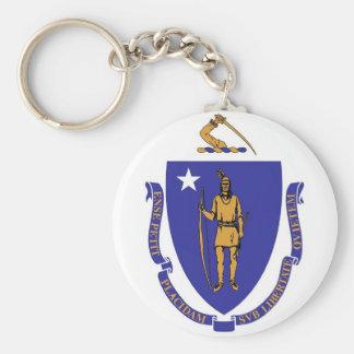 Keychain med den statliga flagga av Massachusetts Rund Nyckelring
