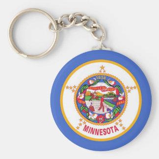 Keychain med den statliga flagga av Minnesota Rund Nyckelring
