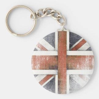 Keychain med den vintageStorbritannien flagga Rund Nyckelring