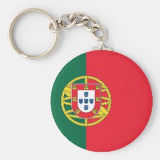 Keychain med flagga av Portugal Rund Nyckelring