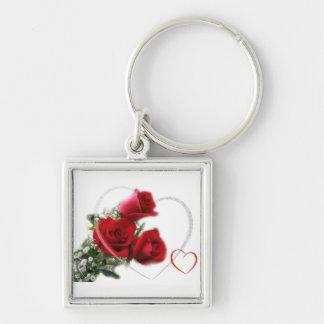 keychains för valentines fyrkantig silverfärgad nyckelring
