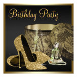 Kickhälet skor kvinna svart och guld- födelsedag