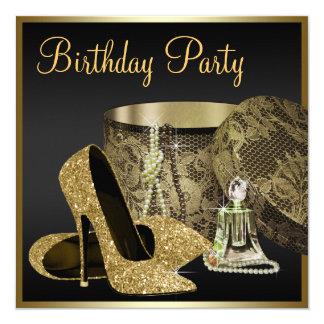 Kickhälet skor kvinna svart och guld- födelsedag fyrkantigt 13,3 cm inbjudningskort