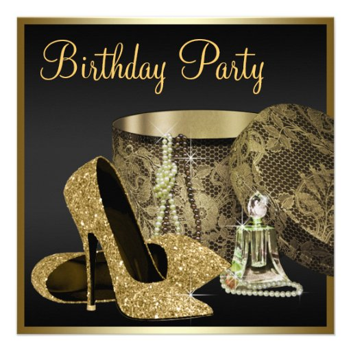 Kickhälet skor kvinna svart och guld- födelsedag inbjudningar