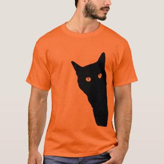 Kika den gulliga roliga Halloween för katt Tee Shirt