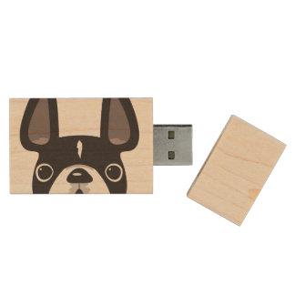 Kika pråligt drev för fransk USB-lönn - svart/vit Trä USB-minne