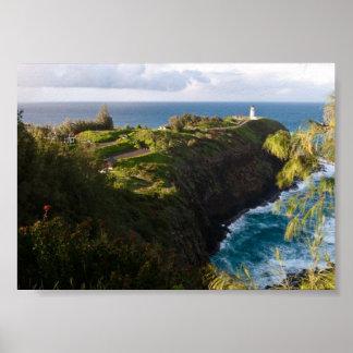 Kilauea fyr, Kauai, Hawaii affischtryck Poster