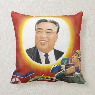 Kim Il-sung kudder det röda porträtt Prydnadskudde
