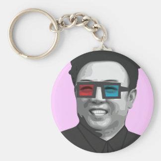Kim Jong-il - Nordkorea Rund Nyckelring