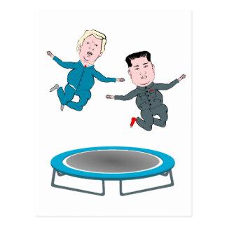 Kim Jong Un och presidenttrumf Vykort