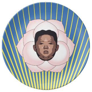 Kim Jong Un på Magnolia med gula strålar Porslinstallrik