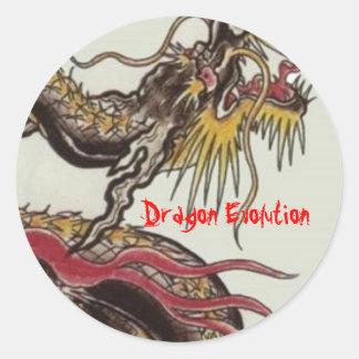 kines-drake-svart drakeevolution runt klistermärke