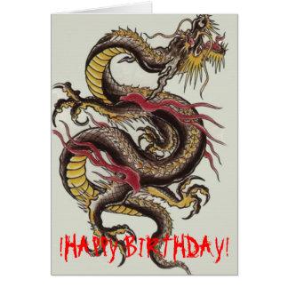 kines-drake-svart! GRATTIS PÅ FÖDELSEDAGEN! Hälsningskort