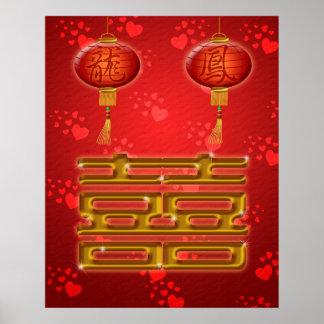 Kinesisk affisch för bröllopdubblalycka