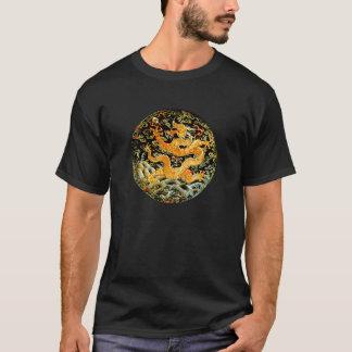 Kinesisk broderad guld- drake för zodiac t-shirts