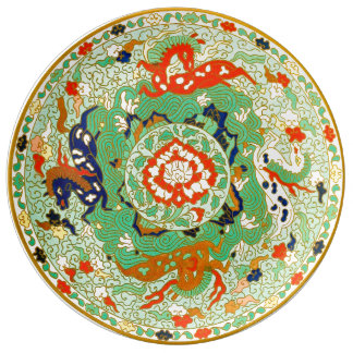 Kinesisk dekorativ design porslinstallrik