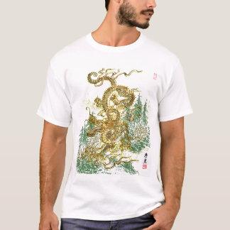 Kinesisk drake över japansk skog t-shirts