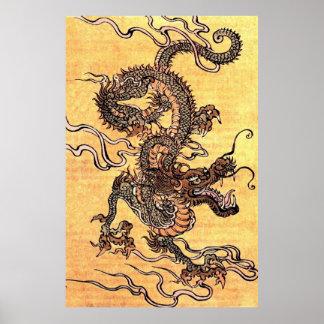 Kinesisk drakeaffisch för vintage poster