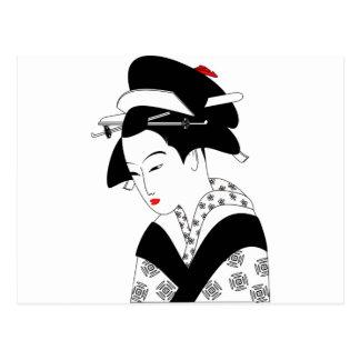 Kinesisk Geisha Vykort