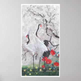 Kinesisk kran med persikablommarvattenfärg poster