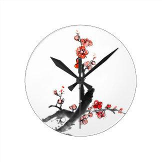 Kinesisk målning av blommor, plommonblommar rund klocka
