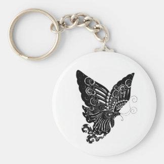 Kinesisk Papper-Cut fjärilsdesign - Keychain Rund Nyckelring