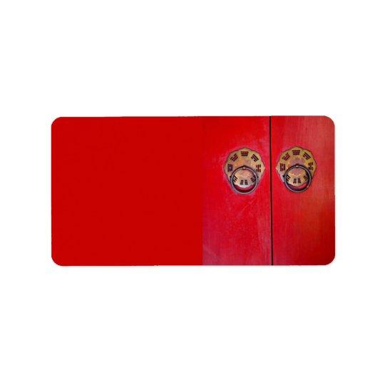 Kinesisk röd dörrbröllopadress/sändningsetiketter adressetikett